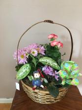 little fairy wonder basket garden with little fairy