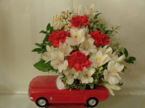 Little Red Sports Car Arrangement