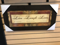 "Live Laugh Love 12"" X 24"" Framed Glass Sign"