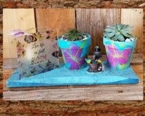 Live Life Candle succulent garden plants