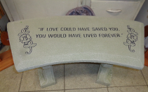 Lived Forever Cement Garden Bench