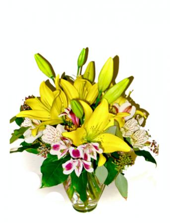 Lively Lilies Vase Arrangement