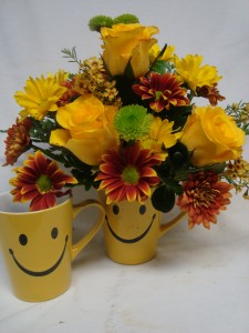 """Happy Autumn"" Happy face mug with roses and  bright fall daisies!"