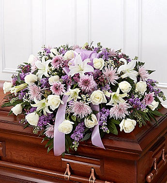 lLavender & White Mixed Half Casket Cover casket