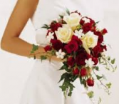 LMF4L #12 CASCADING RED/WHITE BRIDE BOUQUET