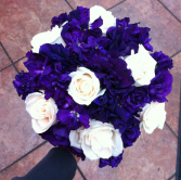 LMF4L BOUQ #12 PURPLE  AND IVORY BRIDE OR BRIDESMAID BOUQUET