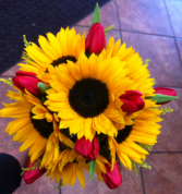 LMF4L-BOUQ #7 SUNFLOWER AND TULLIP BRIDE OR BRIDESMAID BOUQUET