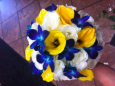 LMF4L BOUQUET #11 BLUE WHITE AND YELLOW BRIDE OR BRIDESMAID BOUQUET