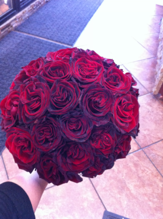 LMF4L-BOUQUET #4 ALL BURGUNDY RED ROSES BRIDE OR BRIDESMAID BOUQUET
