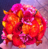 LMF4L-BOUQUET #6 ORANGE RED AND PINK BRIDE OR BRIDESMAID BOUQUET