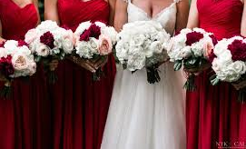 LMF4L RED AND WHITE PACKAGE BRIDE AND BRIDESMAID BOUQUETS