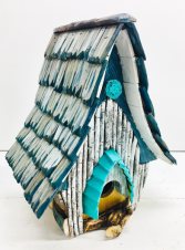 Local Artist Handcrafted Wooden Birdhouse