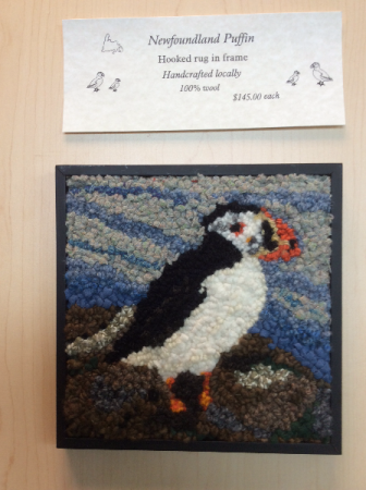 Local Hooked Wool puffin In wood frame