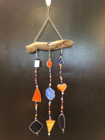 Locally crafted Blue & Orange BSU sun catcher