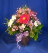Log Cabin Secretarys Week Bouquet vase arrangement