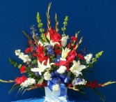 LOG CABIN FLORISTS PATRIOTIC SYMPATHY SPRAY