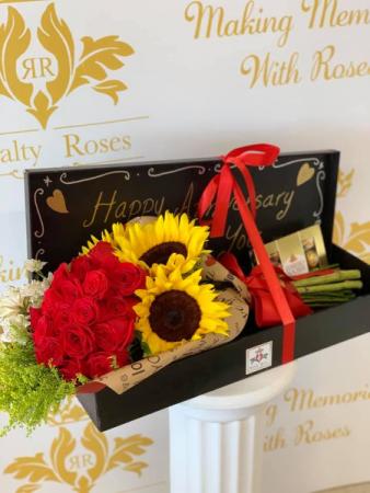 Long Box Bouquet Roses & Sunflowers Long Box Bouquet
