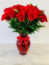 Two Dozen Long Stem Fresh Red Roses