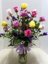 Mixed Long Stem Roses Rose Arrangement