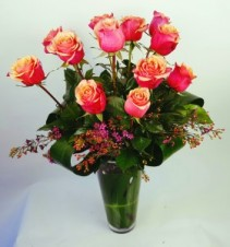 "Long Stemmed Roses in a French Vase  29"" Cherry Brandy or Free Spirit Roses"