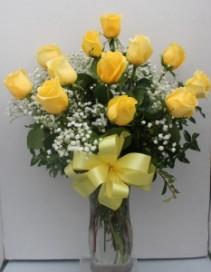 Long Stem Yellow Roses Arranged in glass Vase