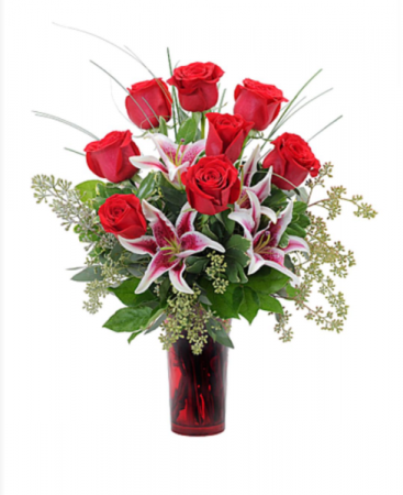 Looks Like Love An elegant mix of Premium Red Roses and Luxurious Lilies