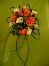 LOOPY ORANGE & WHITE Bridal Bouquet