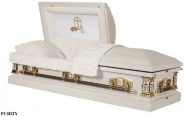 LORD'S PRAYER CASKET 18 Gauge; White; White Crepe