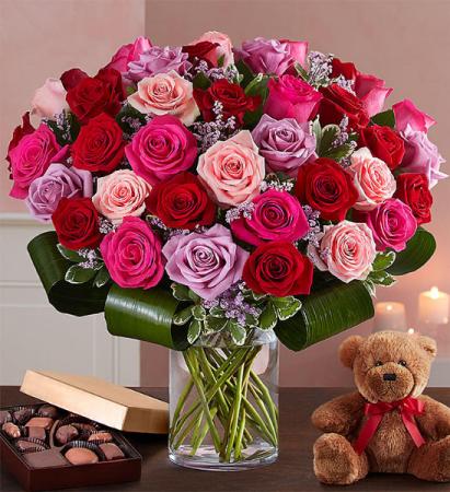 LOTS & LOTS OF LOVE ROSES  Vase Arrangement candy & bear