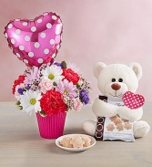 Lots of Love  arrangement with bear