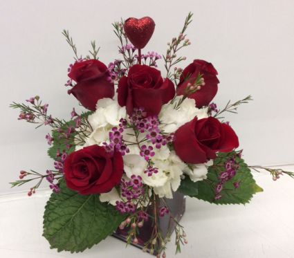 V5 Hearts on Fire Fresh Flower Arrangement