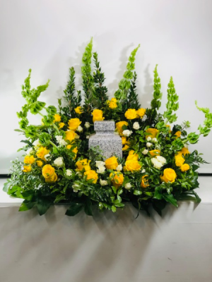 Lots of Yellow Sympathy Urn Urn Arrangement in North Bend, OR | PETAL TO THE METAL FLOWERS
