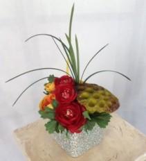 Lotus Pod in Crackled Mirror Vase Silk/Permanent Arrangement