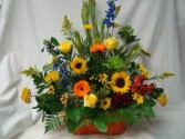 SYMPATHY GARDEN BASKET SEASONAL FLOWERS MIXED COLORS