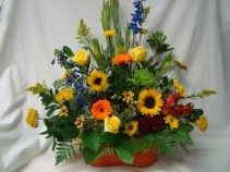 SYMPATHY GARDEN BASKET SEASONAL FLOWERS MIXED COLORS