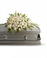 Lovable white flowers casket spray