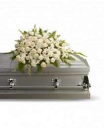Lovable white flowers casket spray