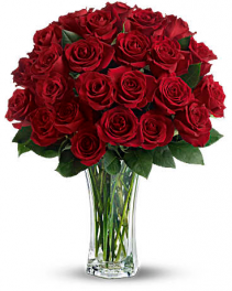 Love  and Devotion-24 Long Stemmed Red Roses