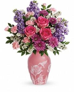 Love and Joy Arrangement Fresh Flowers in a Keepsake