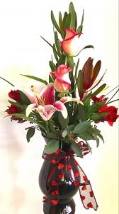 Love and Lilies Valentine Arrangement