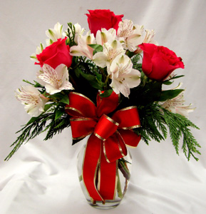 Love at Christmas vase arrangement