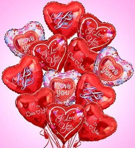 Happy Valentines Day or I Love You Mylar Balloons each