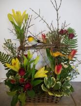 Love Bird Basket Flower Arrangement