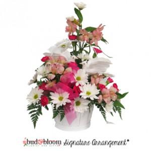 Love Birds Basket of Flowers