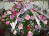 Love Blooms in Pink & Lavendar Casket Spray
