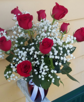 Love Buds Standard Dozen Roses Vase Arrangement