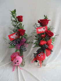 Love Bug Double Red Rose Budvase