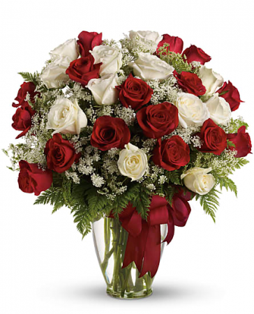 Love Devine 24 Red and White Roses Vased