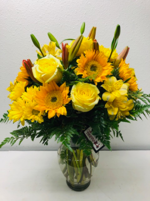 Love For Yellow Vase Arrangement in North Bend, OR | PETAL TO THE METAL FLOWERS
