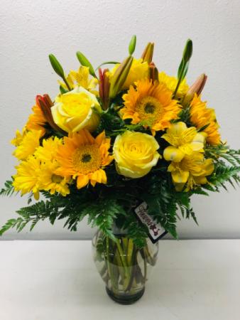 Love For Yellow Vase Arrangement